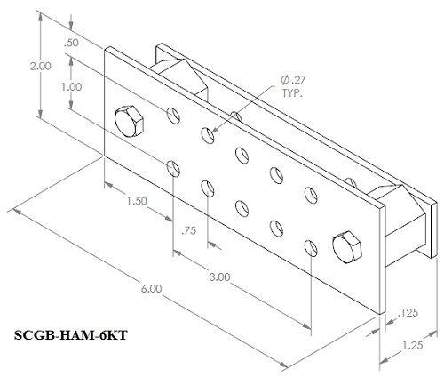 Ham Radio .125'' x 2'' x 6'' Copper Ground Bar Kit- SCGB-HAM-6KT