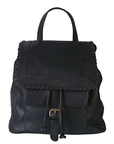 rimen-co-pu-leather-casual-backpack-solid-color-women-with-drawstring-closure-ob-2509-black
