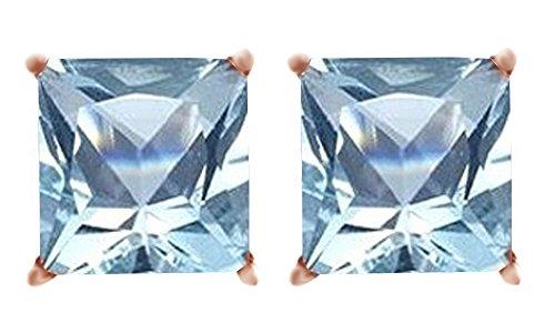 (Princess Cut Simulated Aquamarine Stud Earrings in 14K Solid Gold (1 cttw))