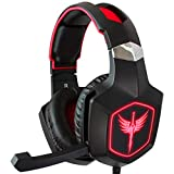 Raikken Stereo Gaming Headset PS4, Xbox One, PC Compatible with Mic, Noise Cancelling Gaming Headphones with LED Lights, High Performance Flip Microphone, Supports Nintendo Switch & Playstation 4 Pro