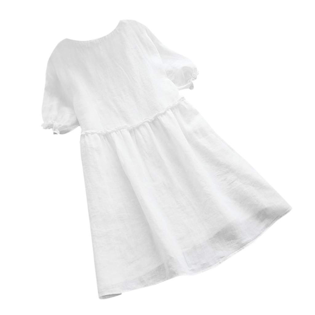 Ximandi Womens Boho Plain Loose Ruffles Short Sleeve Casual Puffy T Shirt Long Dress Plus Size