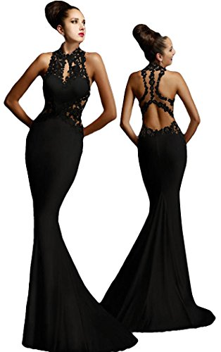[TomYork Cyber Monday Open Back Fine Flowers Wedding Evening Gown(Black,M)] (Black Masquerade Dress)