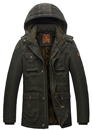 QZUnique Men's Big&Tall Cotton-Padded Front-Zip Jacket Hooded Coat With Buttons Green US L (Mens Amazon Sold Clothing By)