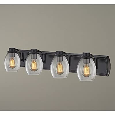 Industrial 4-Light Bath Wall Light with Clear Glass in Bronze