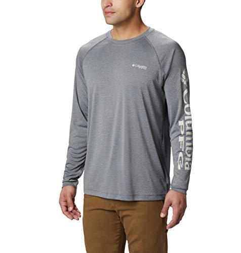 Columbia Mens Standard Terminal Tackle Heather LS Shirt, Charcoal Cool Grey Logo, Medium