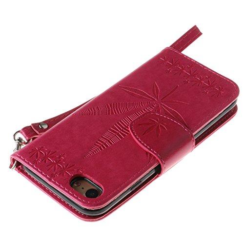 EKINHUI Case Cover IPhone 6 Plus Fall-Abdeckung, doppelte seitliche Prägung Blumen-Qualitäts-Schlag-Standplatz PU-lederner Kasten mit Abzuglinie-Mappe u. Karte Bargeldschlitze für IPhone 6 Plus ( Colo
