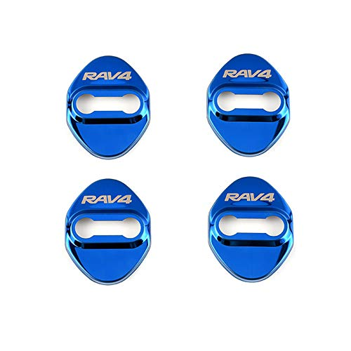 1797 Compatible Door Latch Lock Covers Toyota Accessories Parts RAV4 Corolla Camry Highlander Yaris Interior Buckle Caps Logo Decal Sticker Decorations Anti Corrosion Stainless Steel Blue Pack of 4