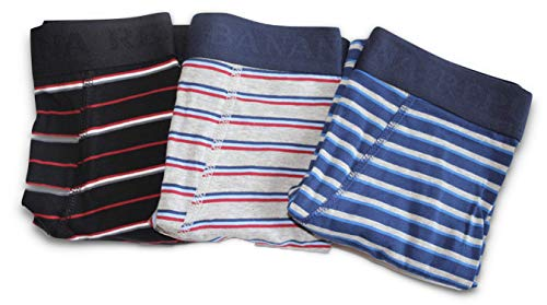"""Banana Republic 3-Pairs Men's Knit Boxer Briefs (Medium 32-34"""") Functional Fly Brief (Striped: Blues, Gray, Red, White) from Banana Republic Factory Store"""