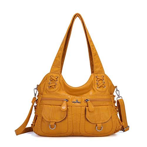 (Purses and Handbags Women Top Handle Satchel Handbags Washed Leather Handbags for Women on sale designer (Yellow-0122-1))