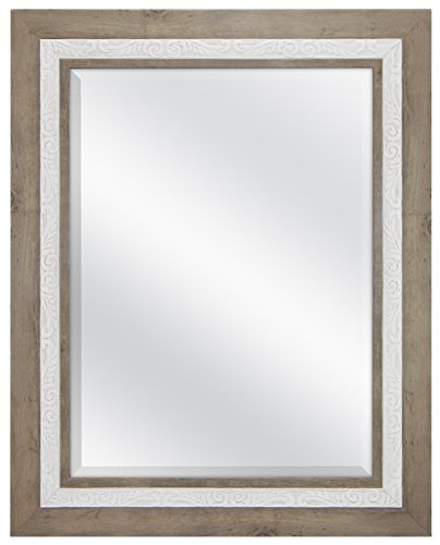 MCS 18x24 inch Beveled Wall Mirror, 24.5x30.5 Inch Overall Size, Rustic Wood -