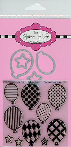Party Balloons Stamp and Die Set for Scrapbooking and Card-Making and DIY Crafts by The Stamps of Life - Happy Birthday Die Set