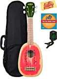 Kala KA-WTML Watermelon Soprano Ukulele Bundle with Hard Case, Clip-On Tuner, Austin Bazaar Instructional DVD, and Polishing Cloth
