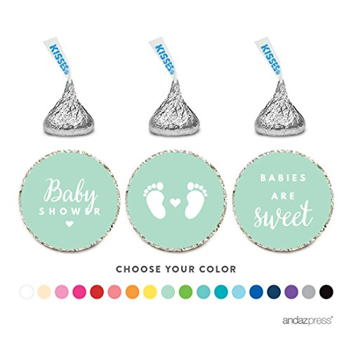 Andaz Press Chocolate Drop Labels Trio, Fits Hershey's Kisses, Baby Shower, Mint Green, 216-Pack ()