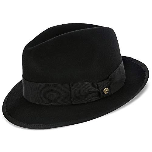 Walrus Hats Layover Black Center Dent Wool Felt Fedora Hat
