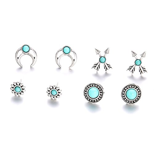 - Iumer Retro Turquoise Stud Women's Ear Accessory Imitation Turquoise Gemstone Earrings Set for Girls 4pairs