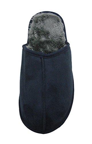 Slipper Da Uomo In Camoscio Con Fodera In Pelliccia Sintetica Blu