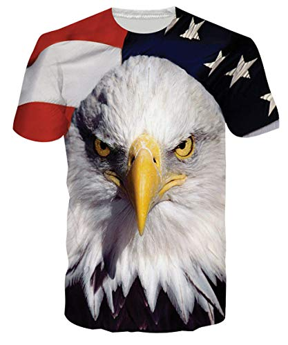 (Loveternal Unisex American Flag USA T Shirt Cool 3D Graphic Print Patriotic Short Sleeve Animal T Shirt Youth Patriotic 1776 Apparel Graphic Tees Gym Fit T Shirts Independence Day Clothes XL)