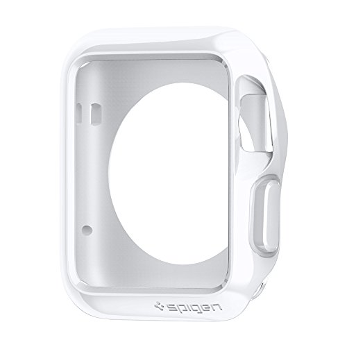 Spigen Slim Armor Apple Watch Case with Air Cushion Technology and 2 Screen Protectors Included for Apple Watch 38mm 2015 - White