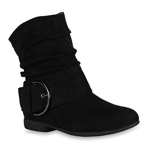 Stiefelparadies Gefütterte Damen Biker Boots Profilsohle Stiefeletten Flandell Schwarz Amares