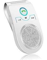 Netvip Bluetooth Car Kit Speaker with Motion Sensor,Wireless Auto Power On Sun Visor Car Speakerphone Hands-Free Music Player,Connect 2 Phones Simultaneously,Support GPS,Music,Calls - White