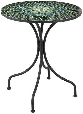 J-line - Mesa de jardín Redonda con Tablero de Mosaico, Color Verde: Amazon.es: Hogar