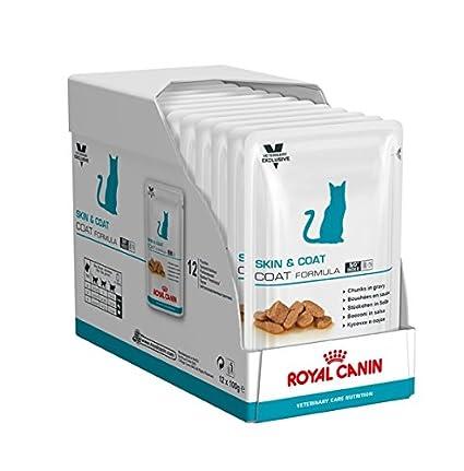 ROYAL CANIN Cat Skin & Coat Comida para Gatos - Paquete de 12 x 100 gr