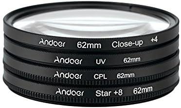 Andoer 62mm UV+CPL+Close-Up+4 +Star 8-Point Filtro Circular Kit de Filtro con Bolso para Nikon Canon Pentax Sony DSLR: Amazon.es: Electrónica