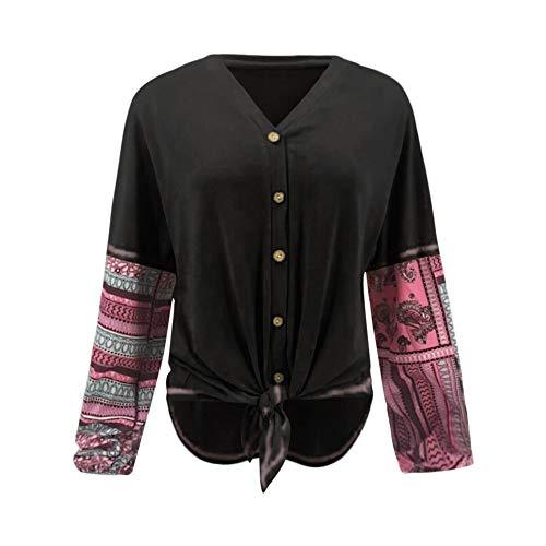 col Henry T Patchwork MuSheng V Femme Noir Bouton col Shirt Rond Chemise Chemise 6ZqnCw