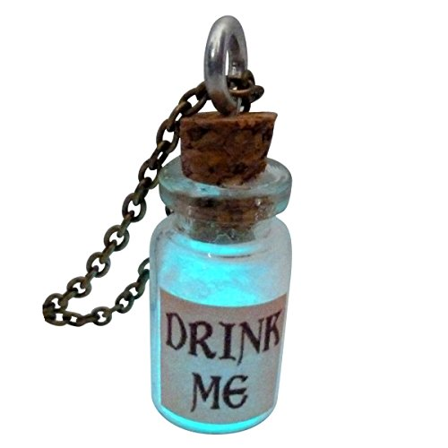 Alice in Wonderland Fairy Glow in the Dark Necklace-Drink me bottle