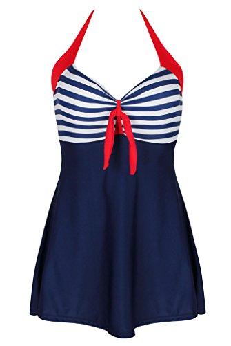 Kiddom Women Vintage Sailor Pin Up Skirted Swimsuit Halter Stripes Beach Dress Red Halter XXXL(US 12-14)