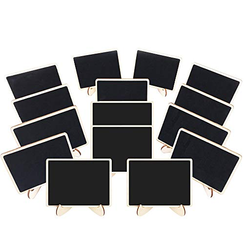 (Mini Chalkboard, 15 Mini Chalkboards with Support Easel, Wooden Rectangle Small Chalkboard Sign Food Signs Labels Table Number Place Cards for Party, Buffet, Wedding, Store and)