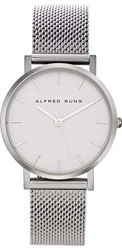 Alfred Sung Watch, Womens Ultra Slim 33mm Silver Case, White Face, Stainless Steel Band AS4150SM-1A