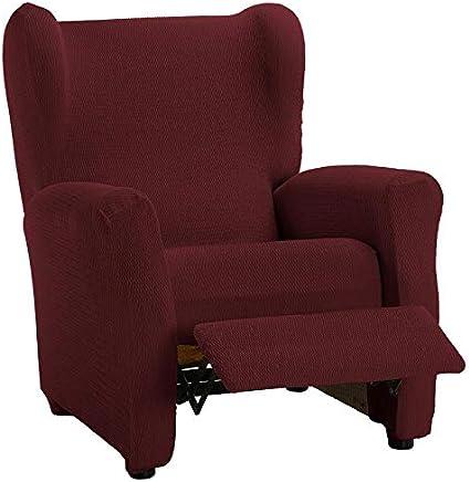 HIPERMANTA Funda sillón Relax elástica Modelo Aitana, 1 Plaza de 70-90 cm Ancho. Burdeos