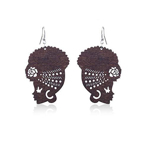 KISSFRIDAY Dark Brown Wooden Female Portrait African Turban Shaped Earrings Jewelry Gift ()