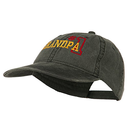 Number 1 Grandpa Embroidered Washed Cotton Cap - Black OSFM](Number One Grandpa Hat)