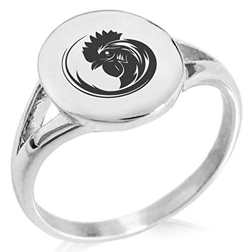Tioneer Stainless Steel Tribal Rooster Minimalist Oval Top Polished Statement Ring, Size ()