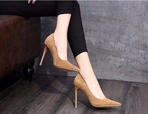 GTVERNH-Mode Sharp Hochhackigen Einzelne Schuhe Schuhe Schuhe Schuhe Four Seasons Beruf Frauen Schuhe Wildleder Flache Schuhe. 34 Khaki. 1d09eb