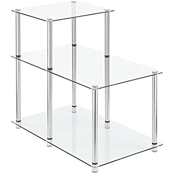 Convenience Concepts Designs2Go 3 Tier Step End Table, Glass