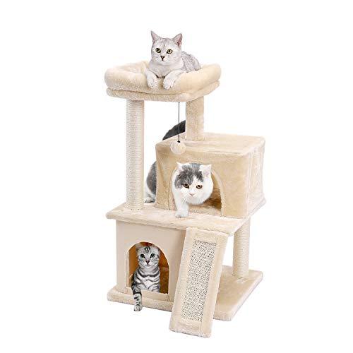 Eono Essentials Katzenbaum Kratzbaum Kratzbäume Katzenmöbel mit Sisal-Seil Plüsch Liege höhlen Spielhaus Spielzeug für…