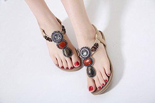Plage Bohème Tongs Chaussures D'été Femmes Sandales Ruiren Peep Abricot Les Pour Perles Plates Sandales Pour Élastiques Toe Ronde De Poste Dames wZnaY6