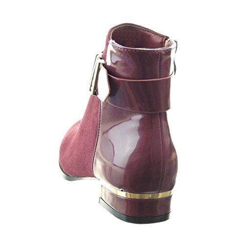 Moda Rojo metálico 3 brillantes mujer de Sopily Tobillo cavalier bimaterial Talón CM Zapatillas Botines Hebilla Tacón ancho AxEnTaqwf