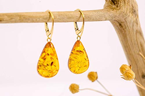 Natural Baltic Amber earrings with gold plated silver Amber Gold Plated Ring