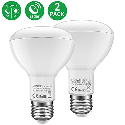 MINGER 10W BR30 Radar Motion Sensor LED Bulb Light , 60W Equivalent, 800 Lumens Soft White 2700K, E27 Base, 120°Beam Angle Spotlight, for Indoor and Outdoor 2 Pack