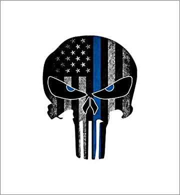 Thin Blue Line Punisher Skull with Blue Reflective Eyes Police Officer BLM American Flag Vinyl Decal