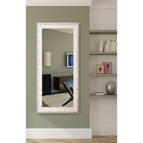 American Made Rayne French Victorian White 30.5 x 65.5 Floor Mirror (Wall Lean Large Mirror Against)