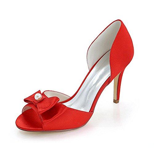 Boda Tacones yc Noche Para Fiesta Primavera Finos Sandalias Seda Verano L Otoño Mujer Red Y 8Zwqc7