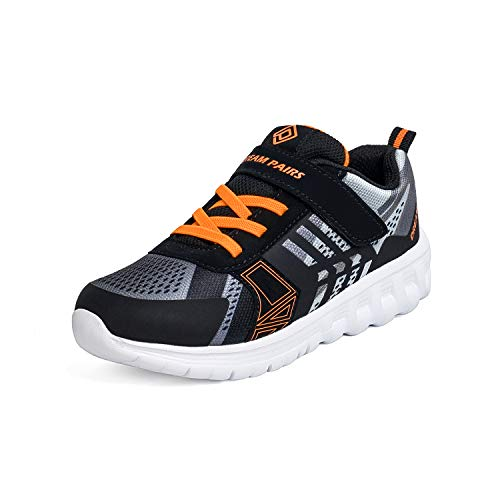 DREAM PAIRS Boys Lightweight Breathable Running Athletic Sneakers Shoes Black Grey Orange, Size 9 M US Toddler