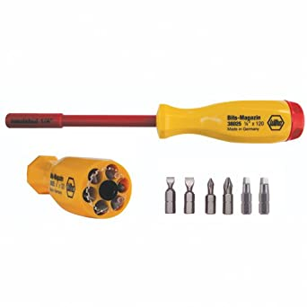 Wiha 38007 Multi-Bit Screwdriver, Slotted, Phillips and Square Drivers Set, 1000 Volt