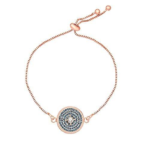 NOUMANDA Pretty Dark Blue Crystal Circle Round Link Bracelet Adjustable Link Chain (rose gold)
