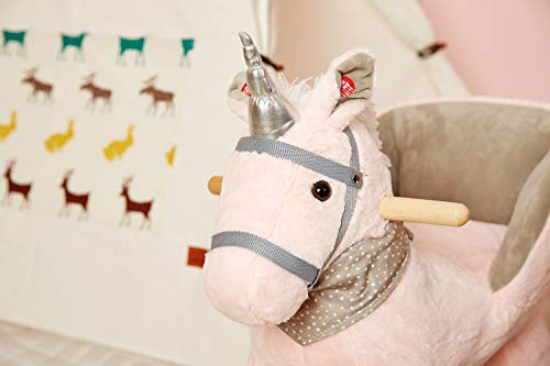 Rock My Baby Pink Rocking Unicorn with Chair,Plush Stuffed Animal Rocker,Wooden Rocking Toy Unicorn/Baby Rocker/Animal Ride on,Home Decor,for Girls,Indoor&Outdoor (Pink Unicorn) by Rock My Baby (Image #5)